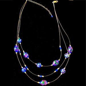 "Illusion bead necklace w/floral design 925 16-19"""